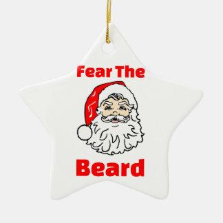 Funny Fear The Beard Santa Claus Ceramic Star Decoration