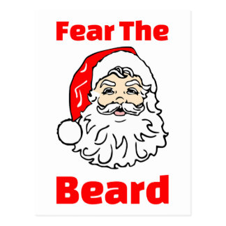Funny Fear The Beard Santa Claus Postcard