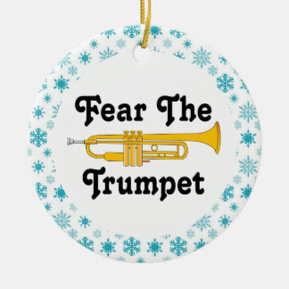 Funny Fear The Trumpet Music Band Christmas Round Ceramic Decoration
