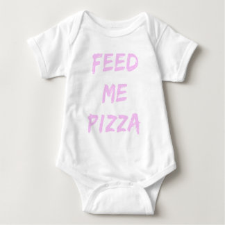 Funny Feed Me Pizza Quote Print Baby Bodysuit
