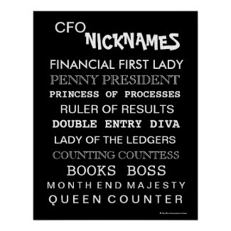 Funny Female CFO Nicknames Office Poster