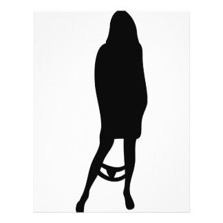 funny female silhouette icon flyer design