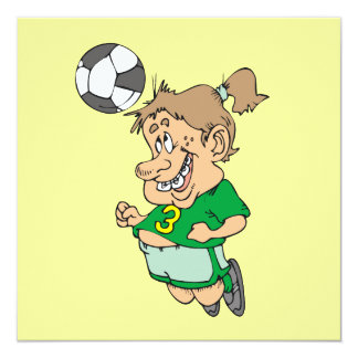 Funny Female Soccer Player Tshirts and Gifts 13 Cm X 13 Cm Square Invitation Card