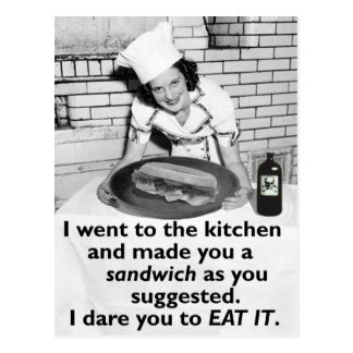 Funny Feminist Make Me a Sandwich Postcard