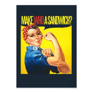 Funny Feminist Rosie Riveter humor Announcements