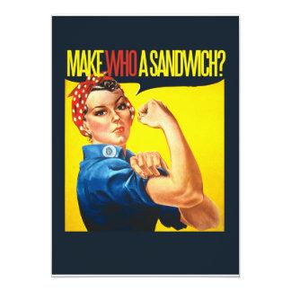 """Funny Feminist Rosie Riveter humor 5"""" X 7"""" Invitation Card"""