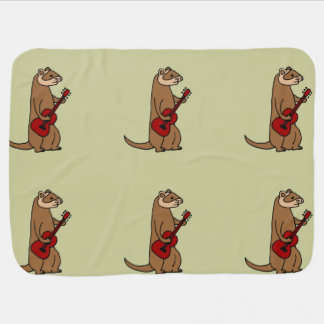 Funny Ferret Playing Red Guitar Pram blanket