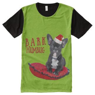 Funny Festive BARK Humbug French Bulldog All-Over Print T-Shirt