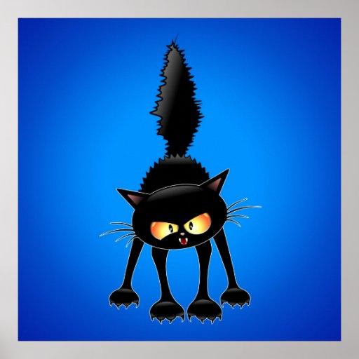 Funny Fierce Black Cat Cartoon posters
