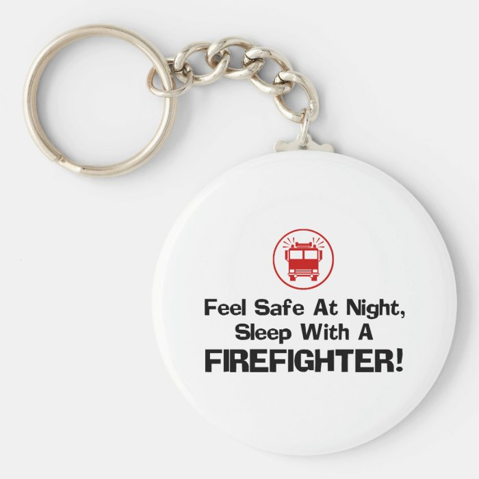 Funny Firefighter Basic Round Button Key Ring