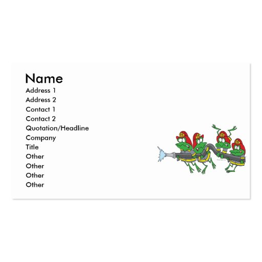 Create your own firefighter business cards page2 funny firefighter froggy frogs business card template colourmoves