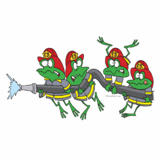 funny firefighter froggy frogs photo cutout