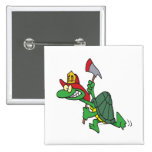 funny fireman firefighter turtle cartoon buttons