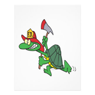 funny fireman firefighter turtle cartoon full color flyer