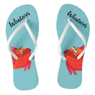 Funny Fish Artwork for the Angler Flip Flops