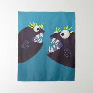 Funny Fish Monsters Talking Kids Tapestry