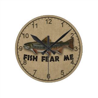 Funny Fisherman  Fish Fear Me Wall Clocks