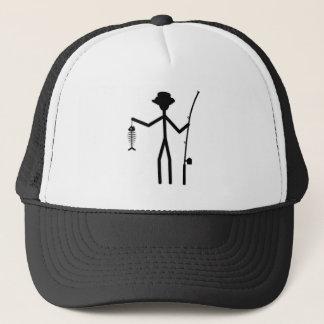 Funny Fisherman Stick Figure Holding Fish Bones Trucker Hat