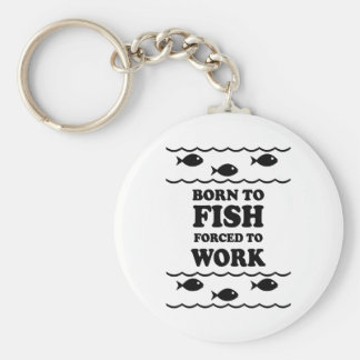 Funny fishing basic round button key ring