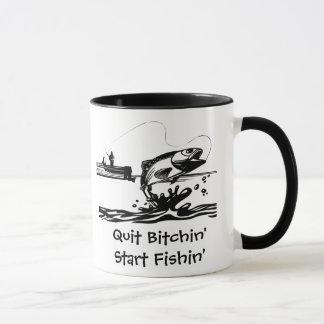 Funny Fishing Cartoon and Saying Mug