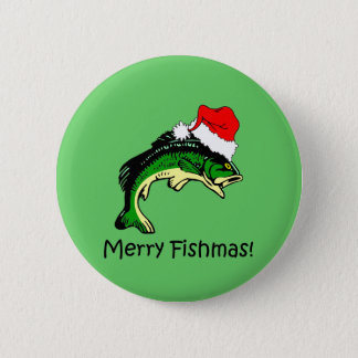 Funny fishing Christmas 6 Cm Round Badge