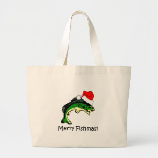 Funny fishing Christmas Tote Bag