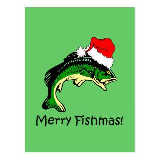 Funny fishing Christmas Postcard