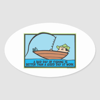 Funny Fishing Oval Sticker