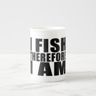 Funny Fishing Quotes Jokes I Fish Therefore I am Bone China Mug