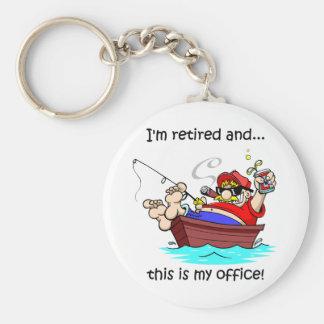 Funny fishing retirement basic round button key ring