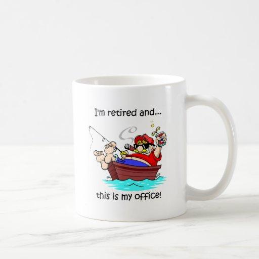 Funny fishing retirement mugs