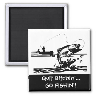 Funny Fishing Saying - Cartoon Graphic Square Magnet