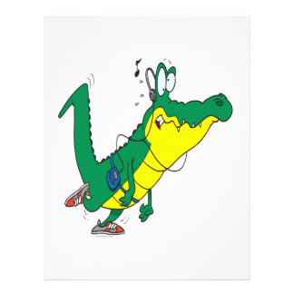 funny fitness gator alligator cartoon flyers