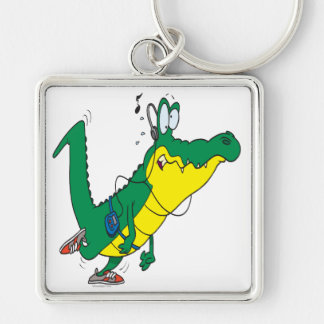 funny fitness gator alligator cartoon Silver-Colored square key ring