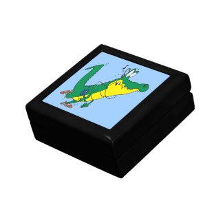 funny fitness gator alligator cartoon small square gift box