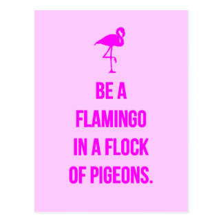FUNNY FLAMINGO ADVICE BE ONE IN A FLOCK OF PIGEONS POSTCARD