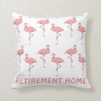 Funny Flamingo Retirement Home Throw Pillow