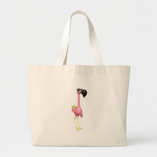 funny flamingo with drink large tote bag