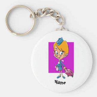 Funny flight attendant cartoon air hostess basic round button key ring