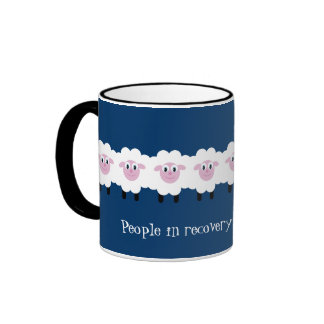 Funny Flock together sheep recovery mug