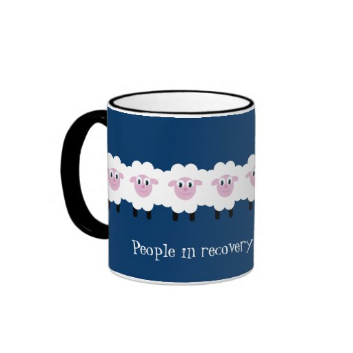 "Funny ""Flock together"" sheep recovery mug"