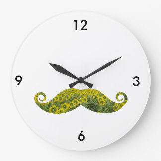 Funny Floral Moustache Round (Large) Wall Clock