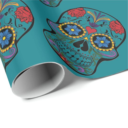 Funny Floral Skull Teal Gift Wrapping Paper