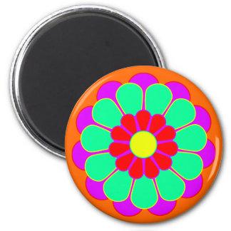 Funny Flower Power Bloom I 6 Cm Round Magnet