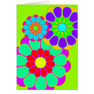 Funny Flower Power Bloom I II III Greeting Card