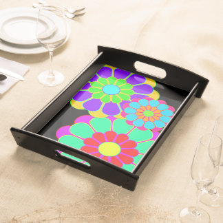Funny Flower Power Bloom I II III Serving Platter