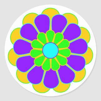 Funny Flower Power Bloom II Classic Round Sticker