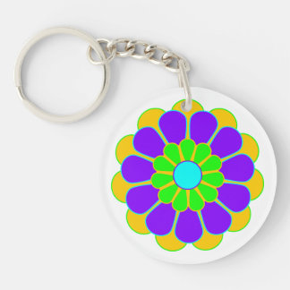Funny Flower Power Bloom II Double-Sided Round Acrylic Key Ring