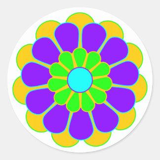 Funny Flower Power Bloom II Round Sticker