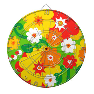 Funny Flower Power Wallpaper Dartboard With Darts